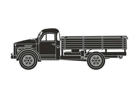 icon retro truck black on the white background