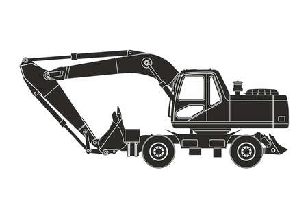 black excavator on the white background