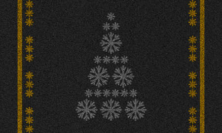 asphalt background with christmas tree made of snowflakes Stock Photo