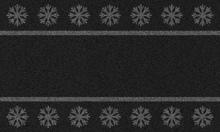 asphalt background with painted snowflakes