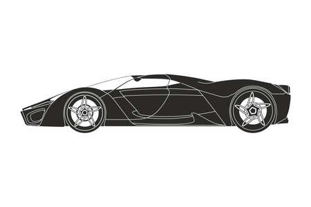 silhouette of a black sport car on the white background Vectores