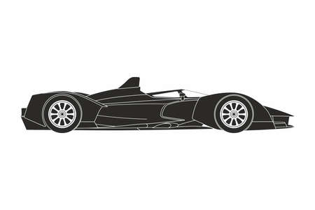 silhouette of a black sport car on the white background Ilustrace