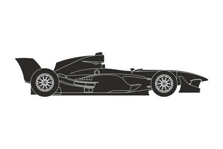 silhouette of a black sport car on the white background Illustration