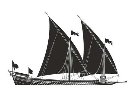 Black sailing ship on the white background