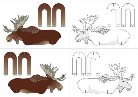 brown and white moose templates vector illustration isolated on white background.