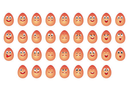 set of different emotions smiles, yellow cartoon eggs