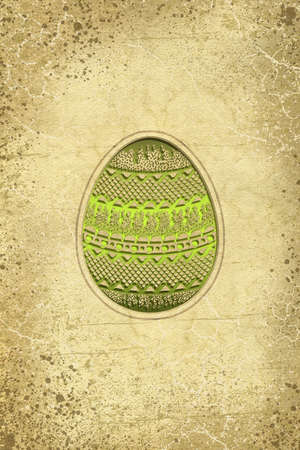easter egg with ornaments on the textured background