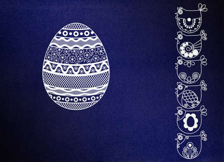 easter ornamented background with eggs and chickens