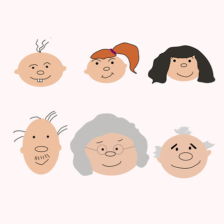 Set of characters in cartoon flat style. Characters, the cycle of life, stages of growing up from baby to man. 向量圖像