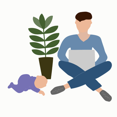 Father with a baby while working on a laptop. Paternity leave Banco de Imagens