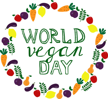 World Vegan day. Template, banner, poster with hand drawn lettering. Vector illustration.