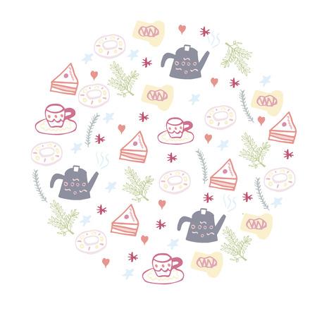 Vector illustration tea time set. Tea time banner in doodle style. Illustration of tea time concept on white background with tea cup, tea pot, cake, donut. Design for poster, card