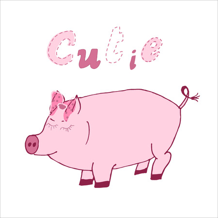 Hand drawn vector illustration of a cute cartoon pig with calligraphic hand written quote Cutie. Scandinavian design for posters, cards, clothes, invitations, t-shirts designs, baby stuff.