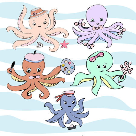 Cute vector ocean set of octopuses. Doodle children drawings. Vector illustration.