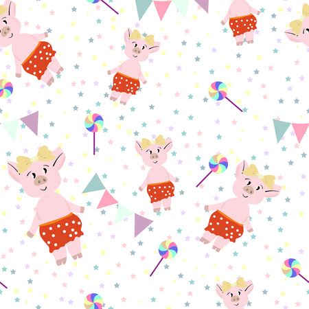 Cute pigs in red pantalones with lollipops seamless pattern , vector illustration.