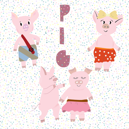 Set of cute pigs with hand lettering PIG. Design for cards, prints, calendar, sticker, invitation, baby shower, children clothes, poster.  イラスト・ベクター素材