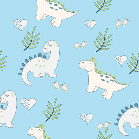 Cute baby dinosaur seamless pattern on the light blue background. Baby cloth design, wallpaper, wrapping. Vector illustration. Ilustração