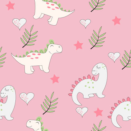 Cute baby dinosaur seamless pattern on the light pink background. Baby cloth design, wallpaper, wrapping. Vector illustration.