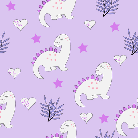 Funny baby dinosaur seamless pattern on the purple background. Baby cloth design, wallpaper, wrapping. Vector illustration.