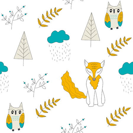 Scandinavian woodland seamless pattern with folk animals bear, fox, trees, mushrooms. Kids design for fabric, textile. Vector Illustration.