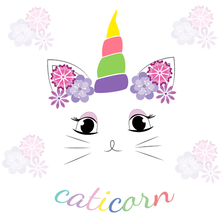 Cute cat with unicorn horn and Caticorn slogan. Can be used as a greeting card, sticker, kids t-shirt design, print or poster.Vector.  イラスト・ベクター素材