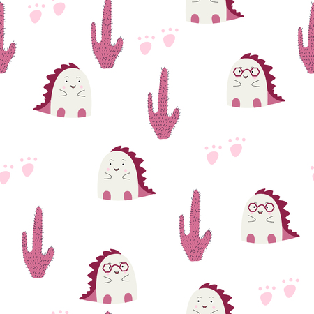 Cute pink baby dino in the wild seamless pattern.Vector illustration. Design for fabric, textile, decor.