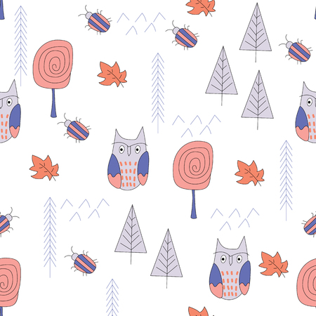 Scandinavian forest seamless pattern. Kids design for fabric, textile. Vector Illustration.  イラスト・ベクター素材