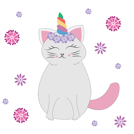 Cute cat with unicorn horn or caticorn. Can be used as a greeting card, sticker, kids t-shirt design, print or poster.Vector.