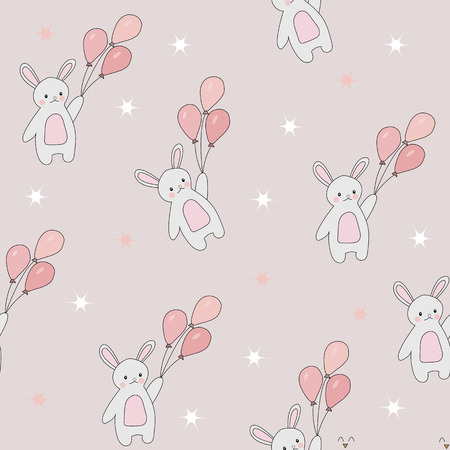 Cute seamless pattern of bunnies. Rabbits flying in the sky with balloons and stars. Vector background for children.