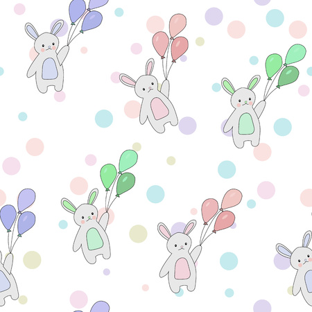 Cute seamless pattern of rabbits flying in the sky with colorful balloons and stars. Vector background for children.