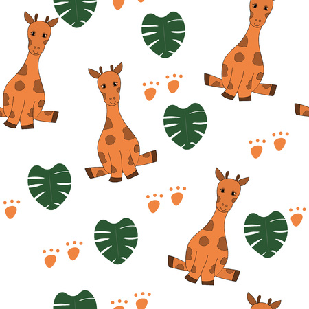 Cute giraffes, monstera leaves seamless pattern on white background. Safari animal with tropical plants print. Fashion safari design for textile, wallpaper, fabric.