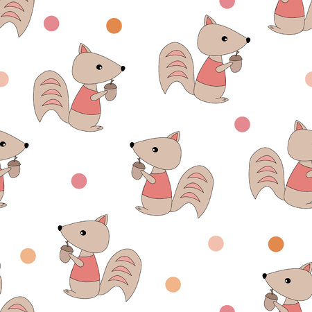 Squirrels with acorns seamless pattern. Design for gift wrapping, wallpaper, childrens room, clothing. Vector illustration. Stockfoto - 127429985