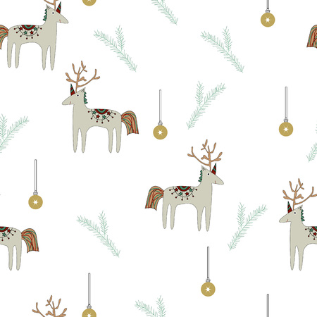 Seamless pattern reindeer with unicorn horns, pine branch, christmas toy. Vector Illustration.