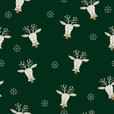 Festive seamless pattern with reindeer and snowflakes on the dark green background. Christmas design for cards, paper,textile. Vector illustration.