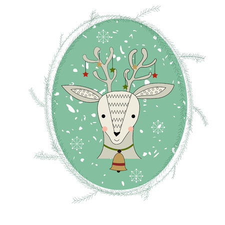 Reindeer in the spruce frame with snowflakes. Isolative. Vector illustration. Perfect for card, textile.