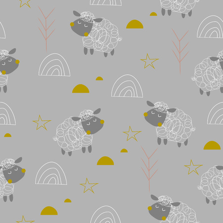 Baby sheeps seamless pattern on the grey background. Vector illustration