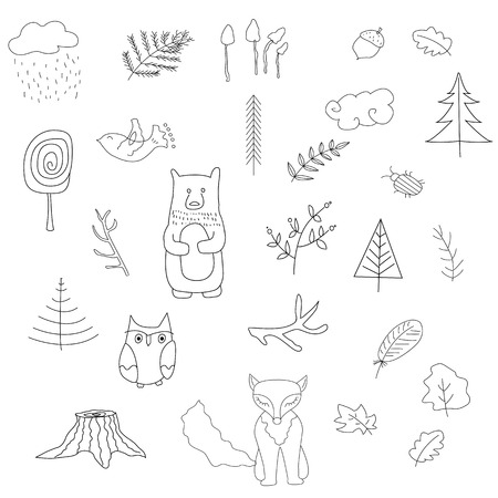 Scandinavian forest set of elements. Black and white. Vector illustration.  イラスト・ベクター素材