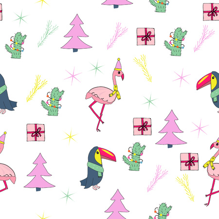 Tropical christmas seamless pattern. Hand drawn vector illustration with pink christmas trees, flamingos, toucans, cactuses with, presents.  イラスト・ベクター素材