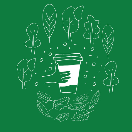 Reusable cup among treas and leaves on the green background. Hand drawn doodle style illustration. Zero waste concept. Eco lifestyle.  イラスト・ベクター素材