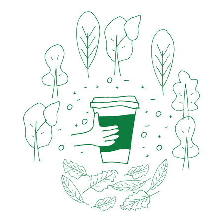 Reusable cup among treas and leaves on the white background. Hand drawn doodle style illustration. Zero waste concept. Eco lifestyle.  イラスト・ベクター素材