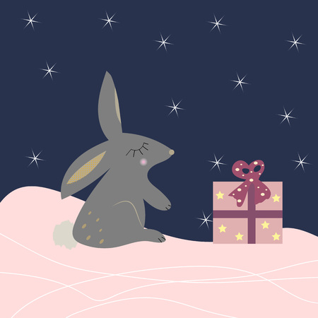 Cute rabbit with a present. Cartoon style winter background. Vector illustration.  イラスト・ベクター素材