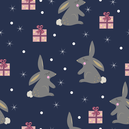Cute rabbit with presents seamless pattern. Vector illustration.