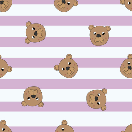 Seamless pattern bears on a striped pink background.