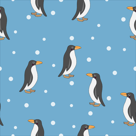 Cute penguin seamless pattern. Cute penguins isolated on blue background with white snow dots.