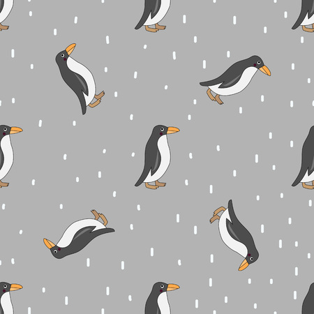 Cute penguin seamless pattern. Cute penguins isolated on gray background with white snow dots.