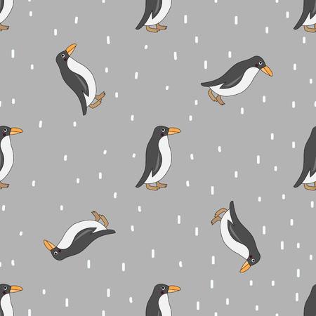 Nahtloses Muster des netten Pinguins. Nette Pinguine lokalisiert auf grauem Hintergrund mit weißen Schneepunkten.