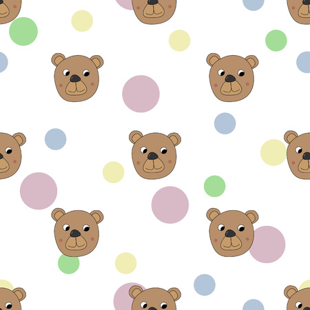 Seamless pattern with bear and color dots, cute teddy bear cartoon, vector textile fabric print, wrapping paper, book cover, pajamas and bedding pattern for kids vector illustration