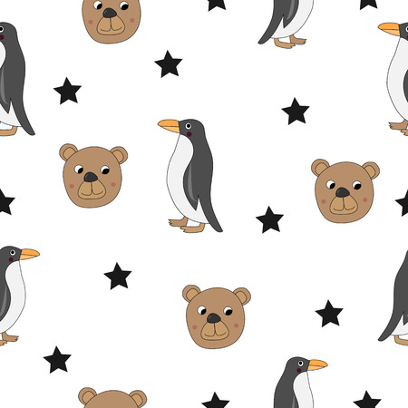 Cute bear and Penguin seamless pattern. Vector.