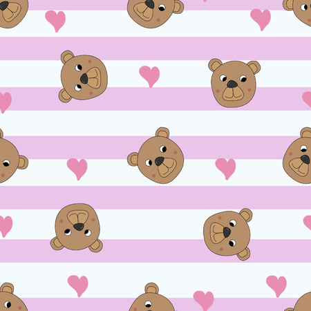Seamless pattern with cute bears and hearts, vector illustration