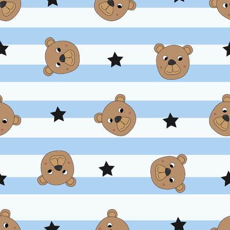 Seamless pattern with cute bears and stars, vector illustration
